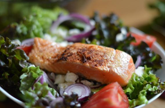 salmon and green leafy vegetables